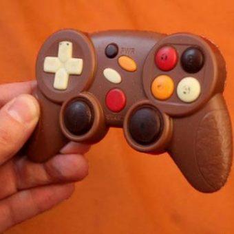 Eetbare chocolade game controller