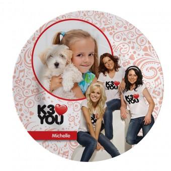 Kinderbord van K3 met eigen foto en tekst