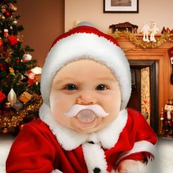 Baby met een kerst snor