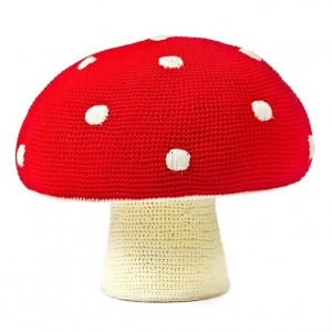 Poef paddenstoel rood met witte stippen
