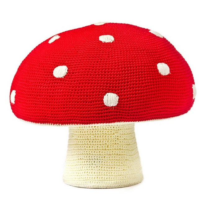Poef in de vorm van een paddenstoel