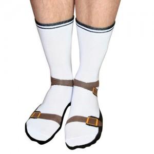Hilarische sokken met sandalen